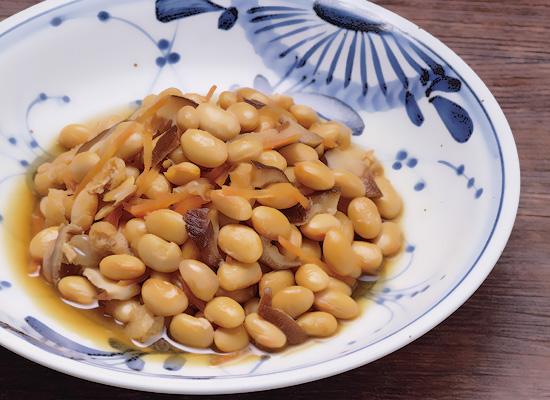 ~煮物だしで簡単♪炊き大豆の五目豆