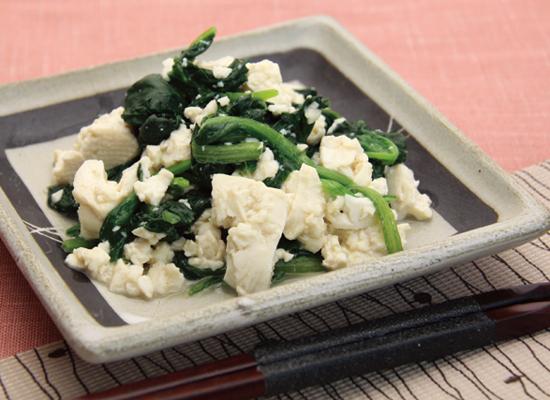 ほうれん草とちぎり豆腐のごま和え