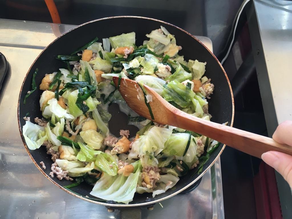 厚揚げのそぼろ野菜炒め:手順3