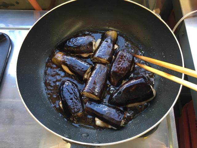 なすと豚肉のはさみ焼き:手順3