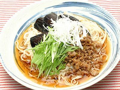 ナスと挽肉のスタミナ麺