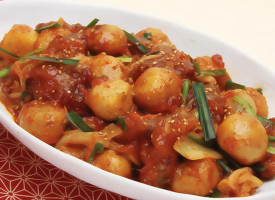 里芋と豚肉のキムチ炒め