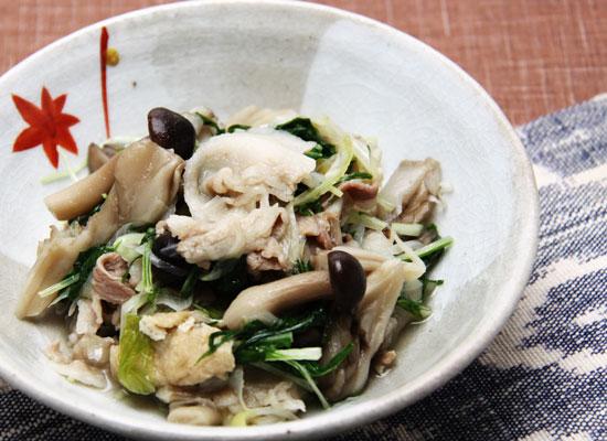 ピリッと柚子風味 | 豚とキノコのサッと煮