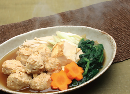 煮物だしで簡単♪ほうれん草と鶏だんごの煮物