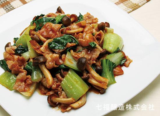 チンゲン菜と豚肉のケチャップ炒め