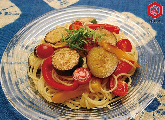 焼きなすと夏野菜の冷製パスタ