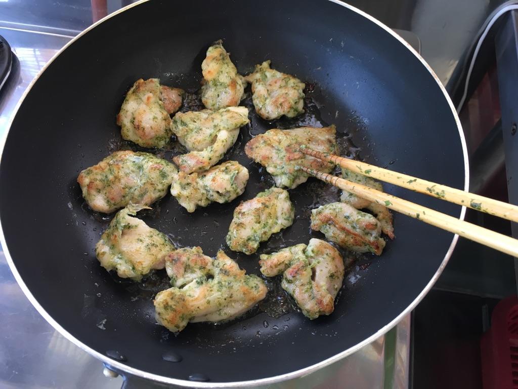 鶏肉のこんがり青のり焼き:手順1