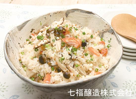 香ばし鮭ときのこの混ぜご飯