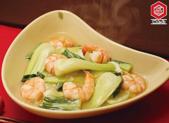 チンゲン菜と海老の生姜炒め