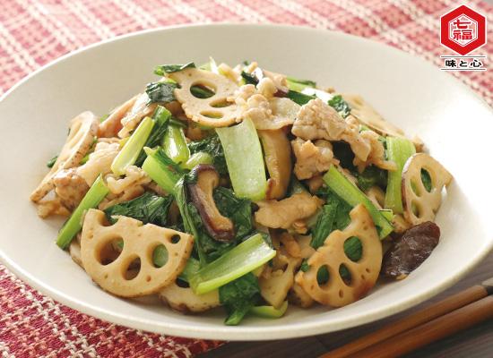 小松菜とれんこんと豚肉の炒め物