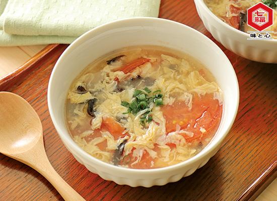 トマトと黒きくらげの玉子スープ